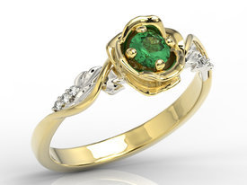 Diamonds & emerald, yellow & white gold ring in the shape of rose LP-7730ZB