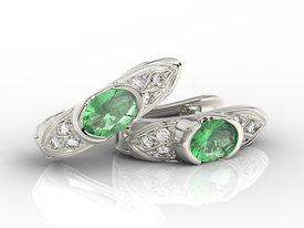 Diamonds & emeralds 14 ct white gold earrings APK-80B