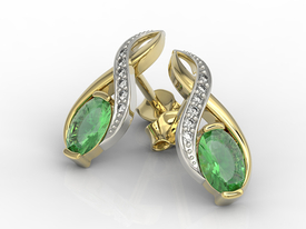 Diamonds & emeralds 14 ct yellow & white gold earrings APK-69ZB  on a stick