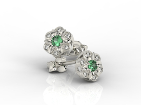 Diamonds & emeralds 14ct white gold earrings JPK-87B