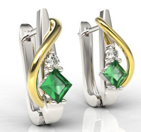 Diamonds & emeralds 14ct white & yellow gold earrings LPK-32BZ