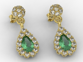 Diamonds & emeralds 14ct yellow gold earrings APK-29Z