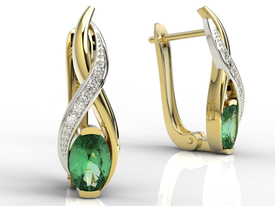 Diamonds & emeralds 14ct yellow & white gold earrings  APK-69ZB