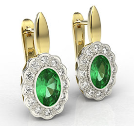 Diamonds & emeralds 14ct yellow & white gold earrings LPK-79ZB