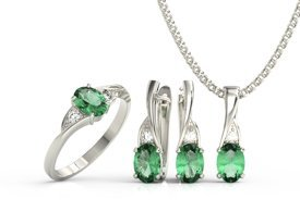 Diamonds & emeralds set - ring, earrings & pendant. 14ct white gold model AP-60B-ZEST