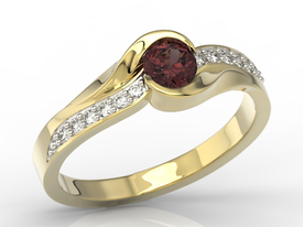 Diamonds & garnet 14ct gold engagement ring AP-6139Z-R