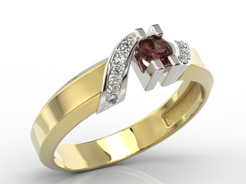 Diamonds & garnet 14ct gold ring JP-66ZB