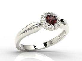 Diamonds & garnet 14ct white gold ring AP-42B