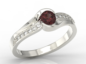 Diamonds & garnet 14ct white gold ring  AP-6136B