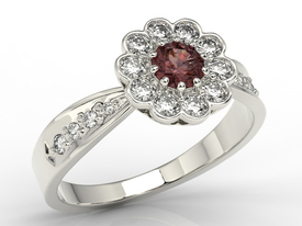 Diamonds & garnet 14ct white gold ring JP-95B