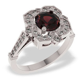 Diamonds & garnet 14ct white gold ring JP-99B