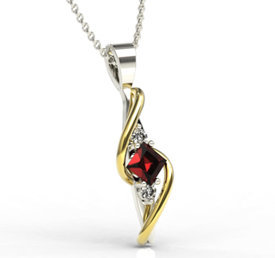 Diamonds & garnet 14ct white & yellow gold pendant LPW-32BZ