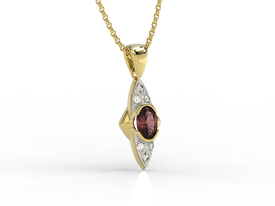 Diamonds & garnet 14ct yellow gold pendant APW-80Z-R