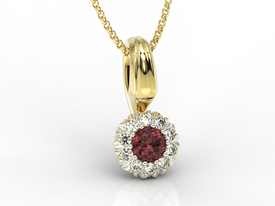 Diamonds & garnet 14ct yellow & white gold pendant APW-42ZB