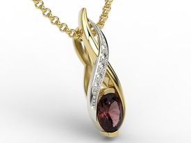 Diamonds &garnet 14ct yellow & white gold pendant APW-69ZB