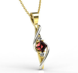 Diamonds & garnet 14ct yellow & white gold pendant LPW-32ZB