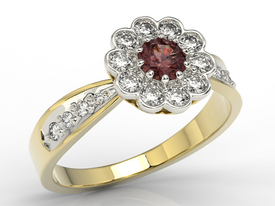 Diamonds & garnet 14ct yellow & white gold ring JP-95ZB-R