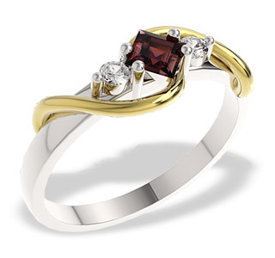 Diamonds & garnet 14ct yellow & white gold ring LP-32BZ