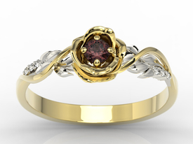 Diamonds & garnet, yellow & white gold ring in the shape of rose LP-7715ZB