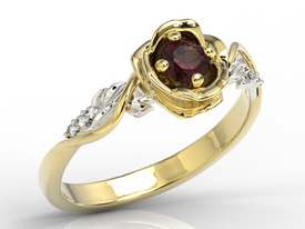 Diamonds & garnet, yellow & white gold ring in the shape of rose LP-7730ZB