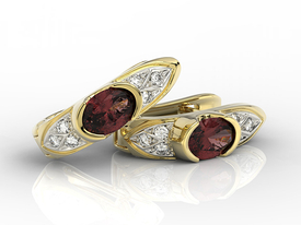 Diamonds & garnets 14 ct yellow gold earrings APK-80Z