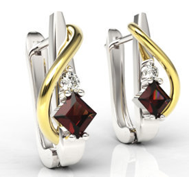 Diamonds & garnets 14ct white & yellow gold earrings LPK-32BZ