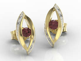 Diamonds & garnets 14ct yellow gold earrings LPK-60Z-R
