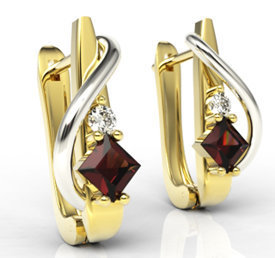 Diamonds & garnets 14ct yellow & white gold earrings LPK-32ZB