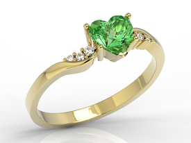 Diamonds & green topaz Swarovski 14ct gold ring AP-70Z