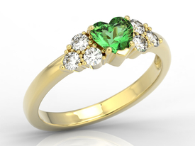 Diamonds & green topaz Swarovski 14ct gold ring BP-54Z