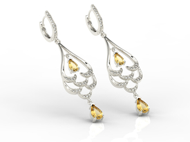Diamonds & lemons 14ct white gold dangling earrings BPK-38B