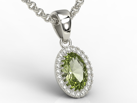 Diamonds & olivine 14ct white gold pendant APW-49B