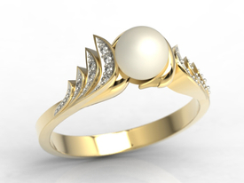 Diamonds & pearl 14 ct yellow gold ring JP-94Z-R