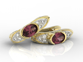 Diamonds & rubis 14 ct yellow gold earrings APK-80Z