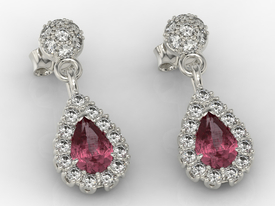 Diamonds & rubis 14ct white gold earrings APK-29B