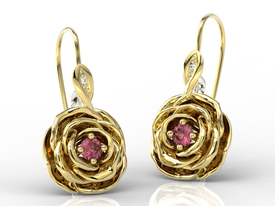 Diamonds & rubis 14ct yellow gold earrings in the shape of a rose APK-95ZB