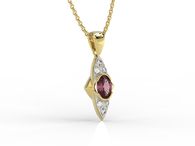 Diamonds & rubis 14ct yellow gold pendant APW-80Z-R
