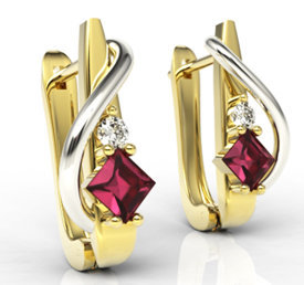 Diamonds & rubis 14ct yellow & white gold earrings LPK-32ZB