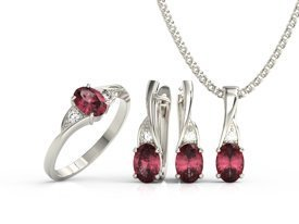 Diamonds & rubis set - ring, earrings & pendant. 14ct white gold model AP-60B-ZEST