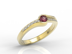 Diamonds & ruby 14ct gold ring 0,05ct BP-3419Z-R