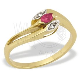 Diamonds & ruby 14ct gold ring JP-34Z-R