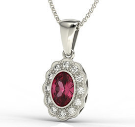 Diamonds & ruby 14ct white gold pendant LPW-79B
