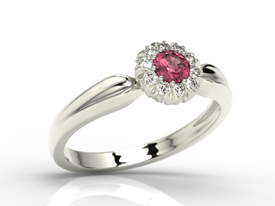 Diamonds & ruby 14ct white gold ring AP-42B