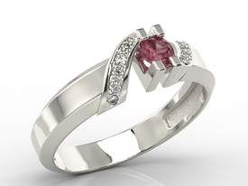 Diamonds & ruby 14ct white gold ring JP-66B