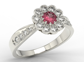 Diamonds & ruby 14ct white gold ring JP-95B