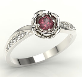 Diamonds & ruby 14ct white gold ring in the shape of a rose LP-4234B