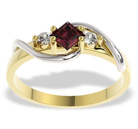 Diamonds & ruby 14ct white & yellow gold ring LP-32ZB