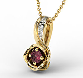 Diamonds & ruby 14ct yellow gold pendant LPW-4221Z-R