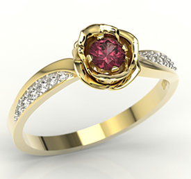 Diamonds & ruby 14ct yellow gold ring in the shape of a rose LP-4234Z-R