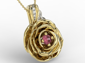 Diamonds & ruby 14ct yellow & white gold pendant in the shape of a rose APW-95ZB